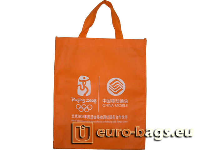 China Mobile Orange Non Woven Fabric Carrier Bag